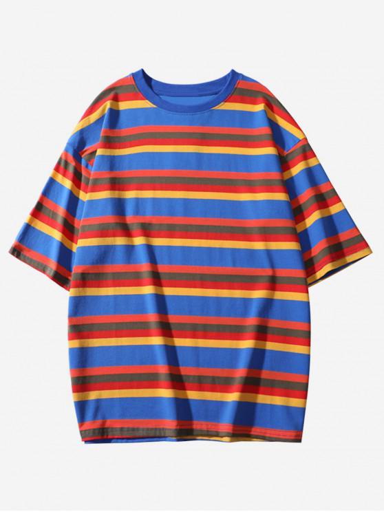 chic Striped Print Short Sleeves Casual T-shirt - OCEAN BLUE M