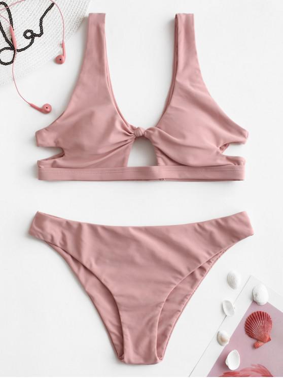 sale ZAFUL Knotted Cut Out Bikini Set - LIGHT PINK L