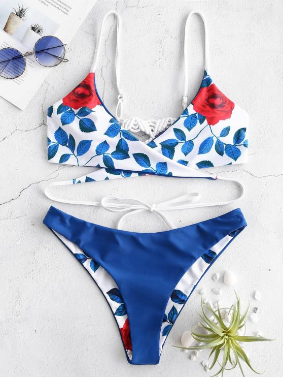 women ZAFUL Flower Braided Wrap Reversible Bikini Set - OCEAN BLUE S
