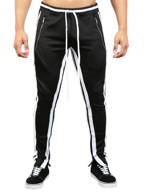 Pantalon de Survêtement Zippé Contrasté à Ourlet Rayé - Noir 2XL Mobile