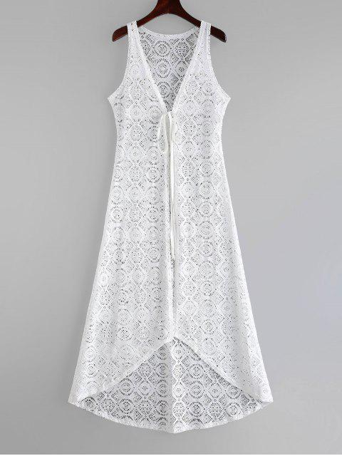 women's Tie Lace Beach Cover-up Dress - WHITE  Mobile