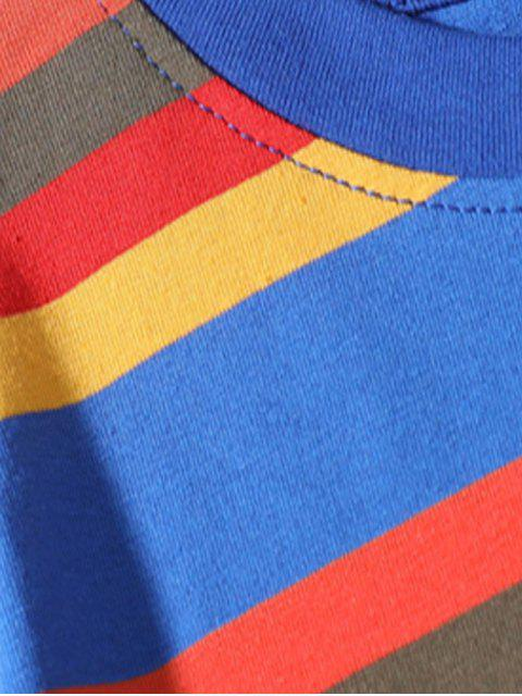 Camiseta Casual Manga Corta Estampada Rayas - Azul Océano  L Mobile