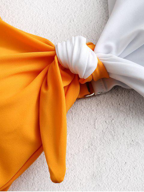 ZAFUL Цветной блок С бантом С вырезом Купальник - Светло-серый 2XL Mobile