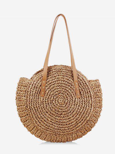 zaful Round Beach Shoulder Straw Bag