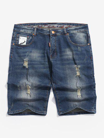 Playing Card Destroy Wash Denim Shorts