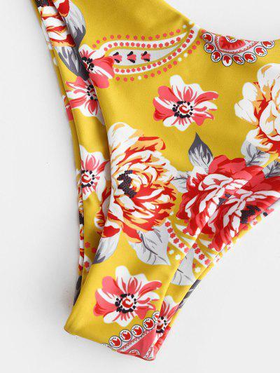 ZAFUL Floral Tied High Leg Bikini Set, Multi-a