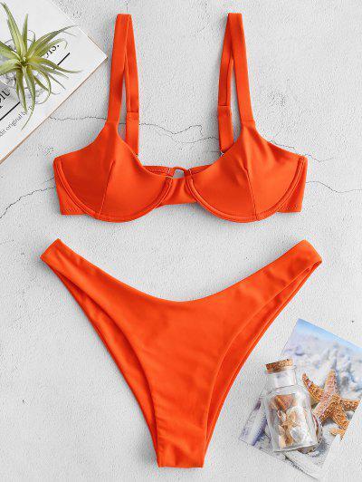 ZAFUL Underwire Tie Balconette Bikini Set - Dark Orange M