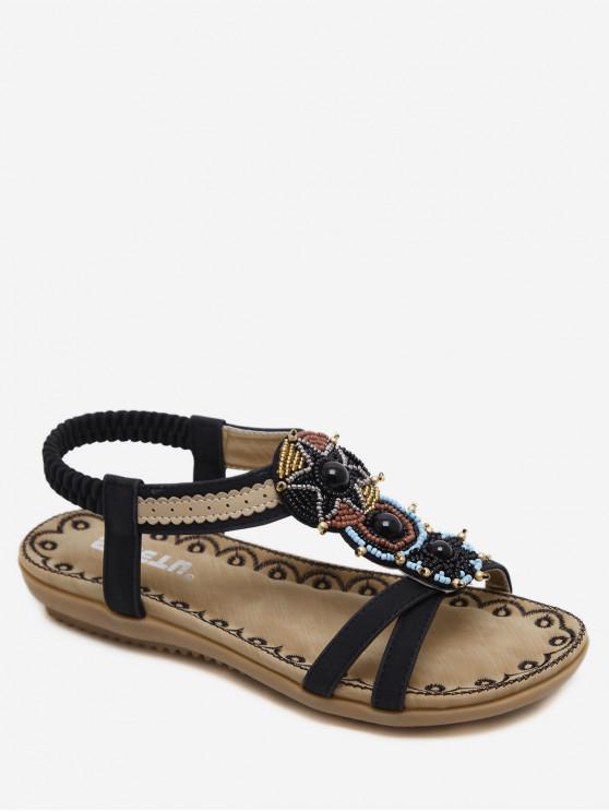 womens Open Toe Beaded Flat Sandals - BLACK EU 35