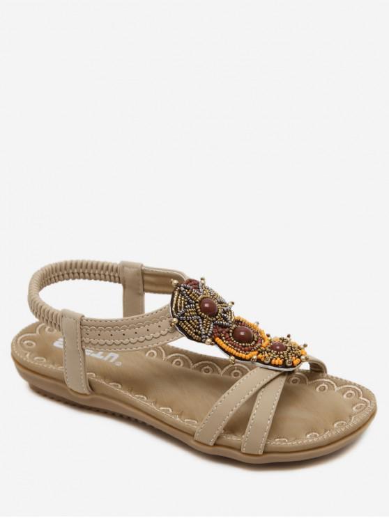 trendy Open Toe Beaded Flat Sandals - APRICOT EU 41