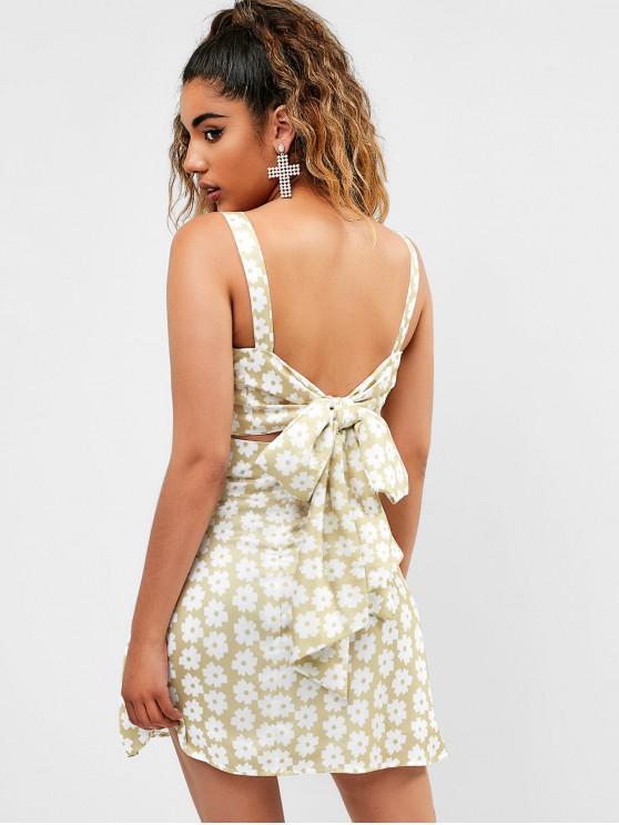 sale Knotted Back Floral Print A Line Dress - TAN BROWN L