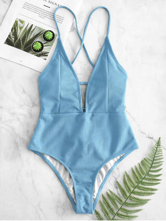 shops ZAFUL Lace-up Crisscross Ribbed Swimsuit - LIGHT BLUE M