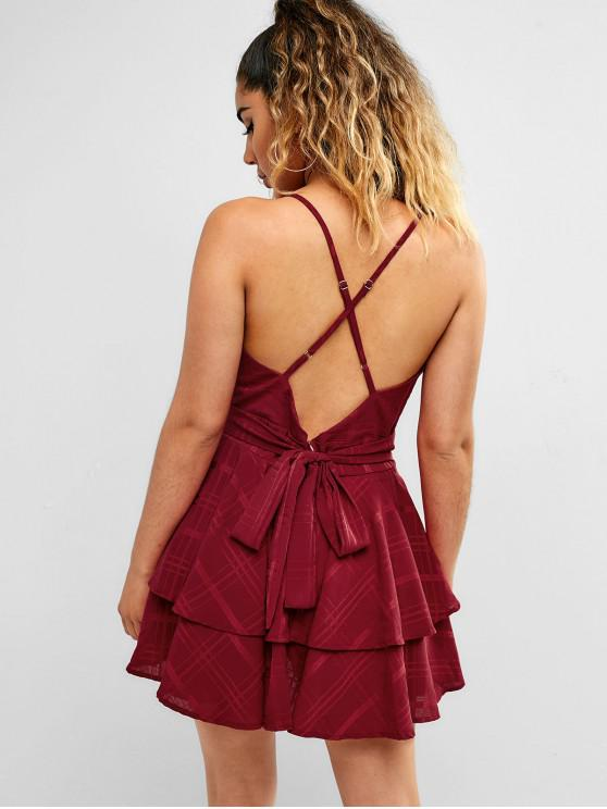 women Cami Cross Tier Flounce Skirted Romper - RED WINE S