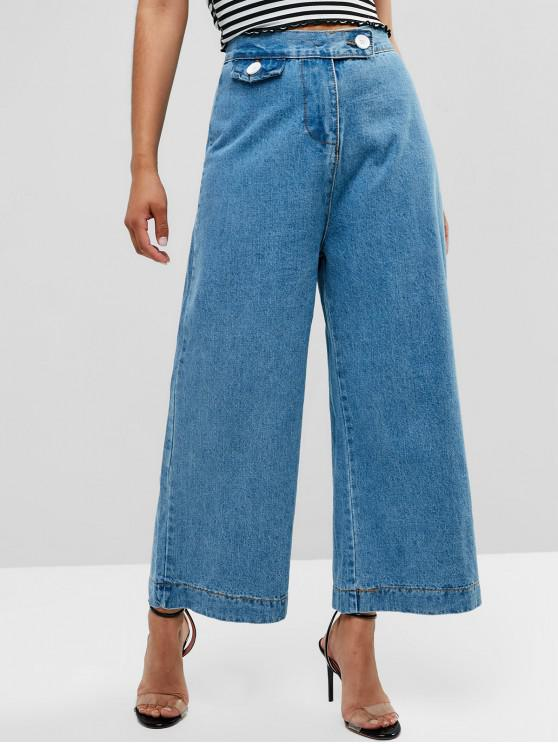 ladies High Waisted Wide Leg Jeans - DENIM BLUE S