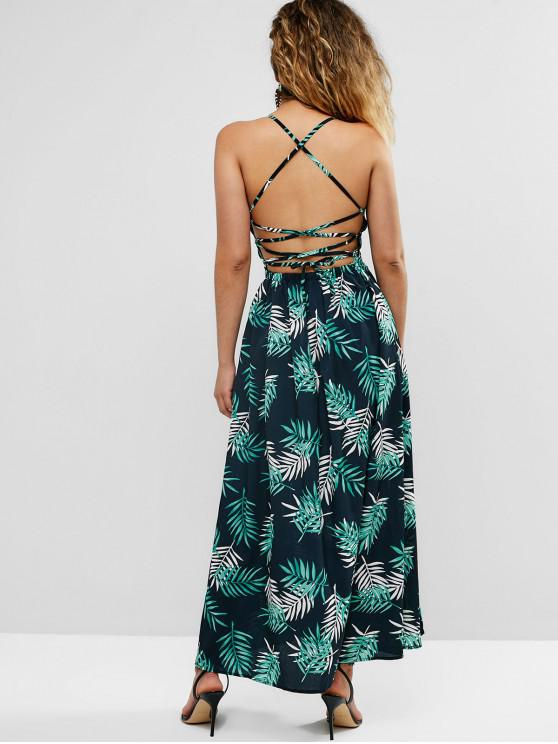 lady Criss Cross Leaf Print Slit Beach Dress - BLACK XL
