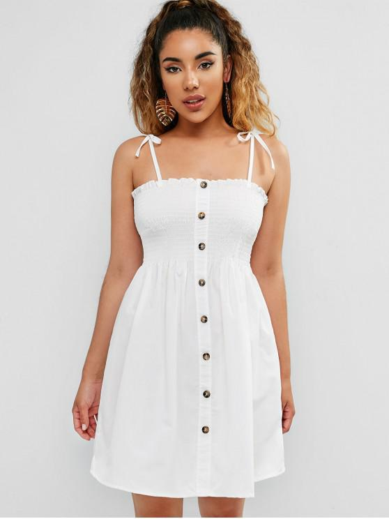 shop Shirred Buttoned Cami Dress - WHITE M