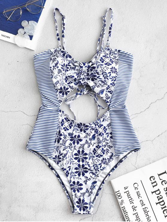 latest ZAFUL Striped Floral Cutout Bandeau Swimsuit - OCEAN BLUE M