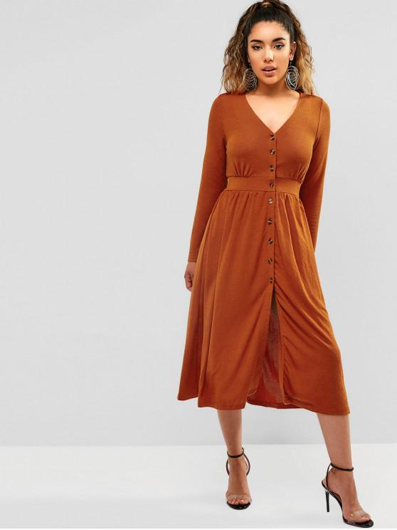 unique ZAFUL Long Sleeve Button Through Midi Dress - CHOCOLATE L