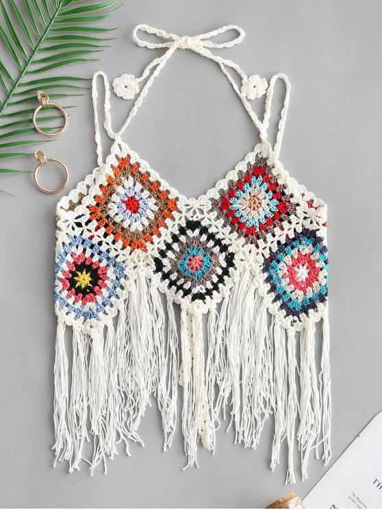 sale Fringed Tie Crochet Camisole - WHITE ONE SIZE