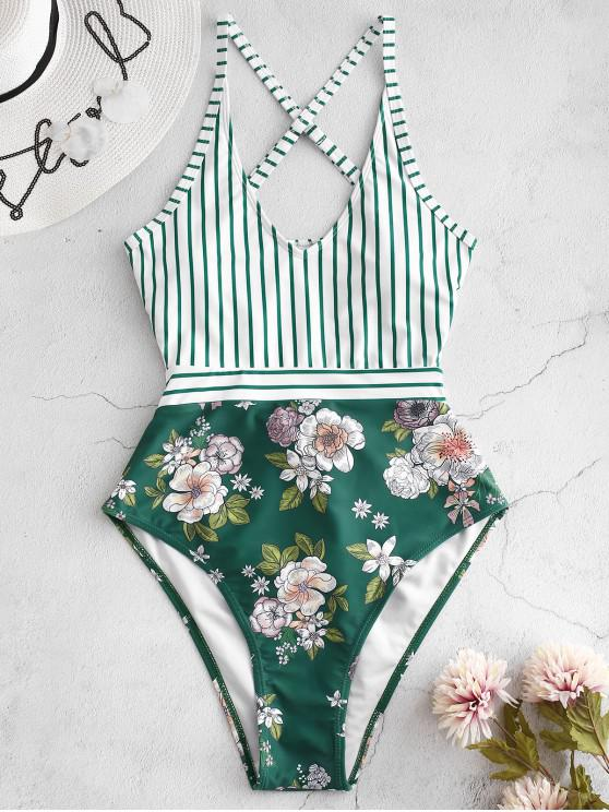 affordable ZAFUL Striped Floral Criss Cross Swimsuit - GREENISH BLUE XL