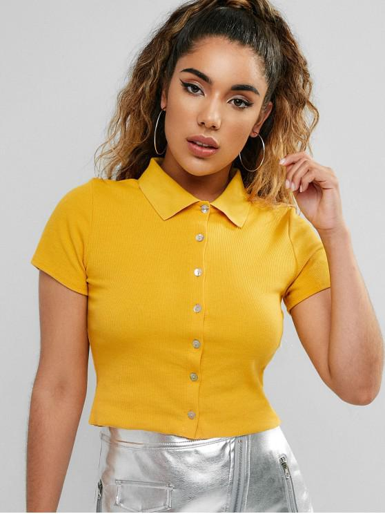 Botón arriba camisa cuello cosecha camiseta - Amarillo M