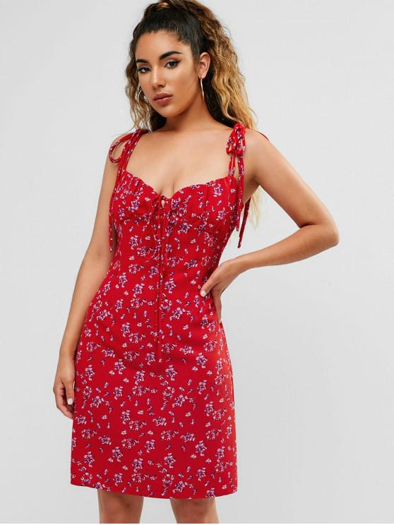 shop Tie Shoulder Floral Cami Short Dress - RED M