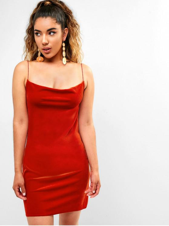 buy Side Slit Velvet Cami Dress - CHESTNUT RED M