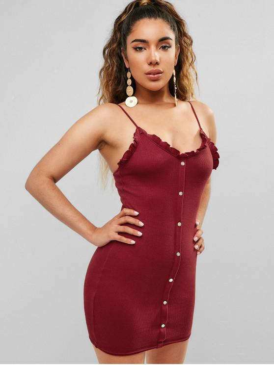 best Buttons Embellished Cami Bodycon Dress - RED WINE S
