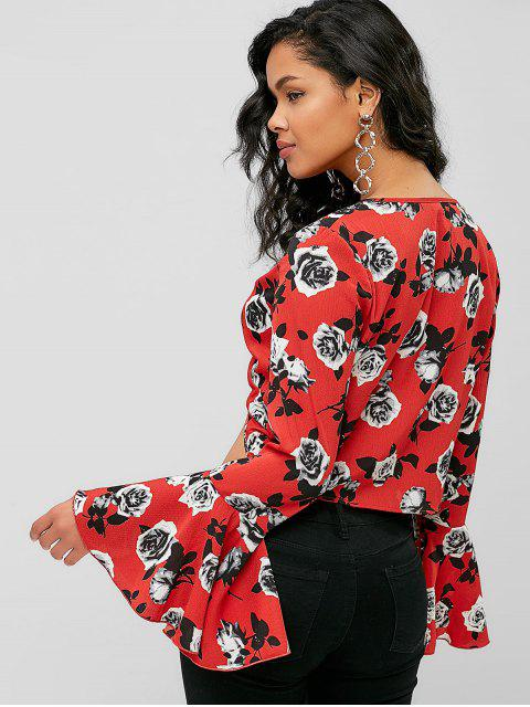 shops ZAFUL Flare Sleeve Floral Twist Blouse - RED L Mobile