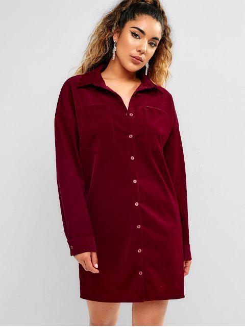 ZAFUL Button Up vestido de bolsillo de pana - Vino Tinto M Mobile