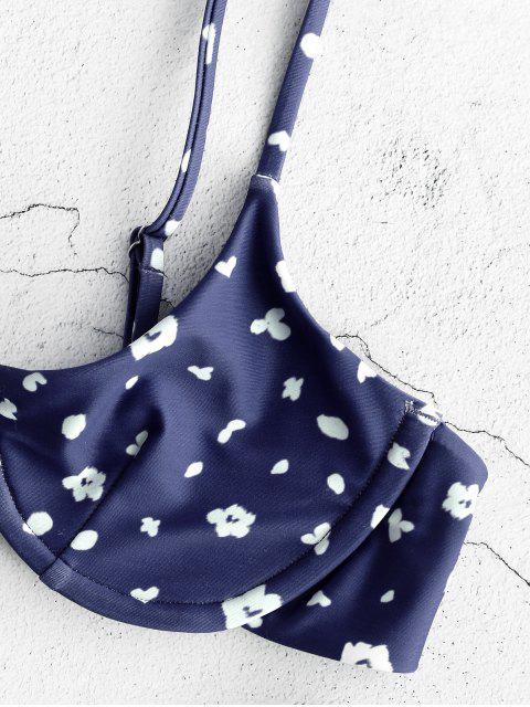 ZAFUL На косточках Цветочный принт Бикини в сборе - Полуночный синий S Mobile
