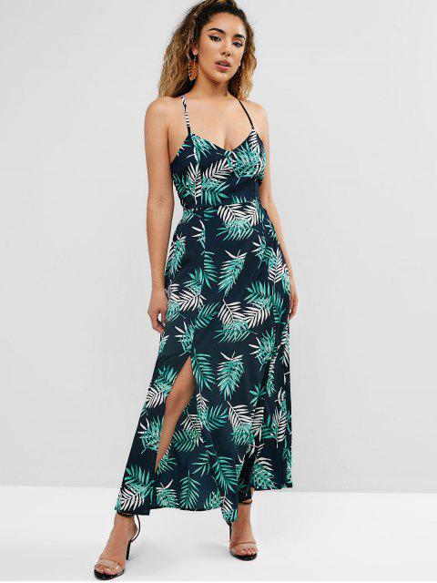 trendy Criss Cross Leaf Print Slit Beach Dress - BLACK S Mobile