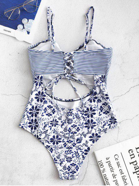 ZAFUL Striped Floral recorte Bandeau traje de baño - Azul Océano  L Mobile