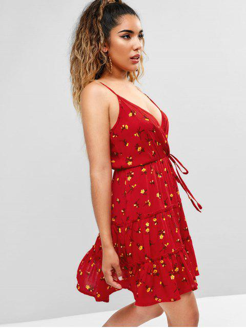 latest ZAFUL Floral Surplice Cami Dress - LAVA RED M Mobile