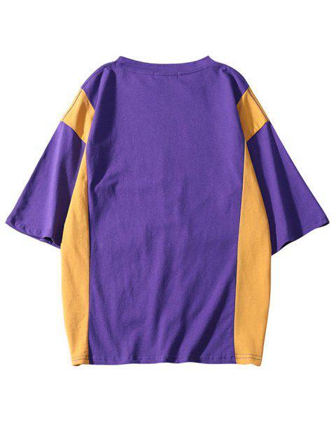 best Letters Print Covered Pockets Color Block T-shirt - PURPLE FLOWER 2XL Mobile
