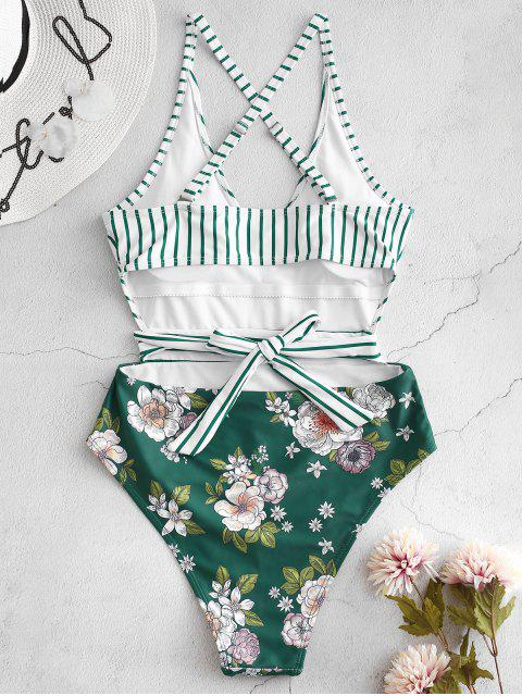 ladies ZAFUL Striped Floral Criss Cross Swimsuit - GREENISH BLUE L Mobile