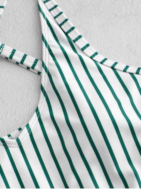 ZAFUL條紋花卉十字交叉泳衣 - 綠藍 XL Mobile