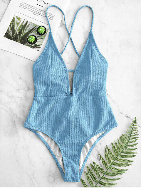 outfit ZAFUL Lace-up Crisscross Ribbed Swimsuit - LIGHT BLUE 2XL Mobile