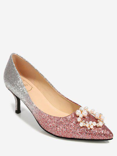Pointed Rhinestone Decorated Thin Pumps