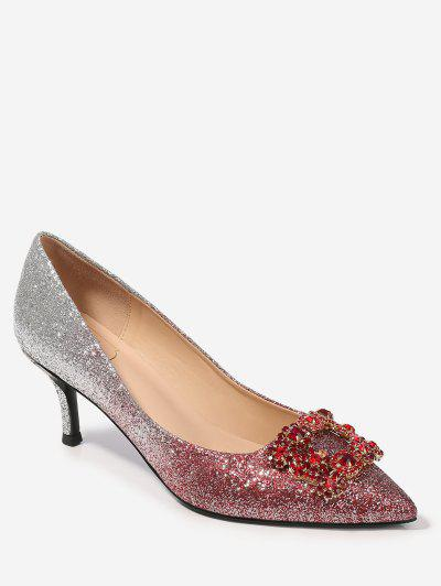Pointed Rhinestone Decorated Pumps