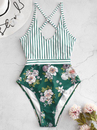 ZAFUL Striped Floral Criss Cross Swimsuit - Greenish Blue S