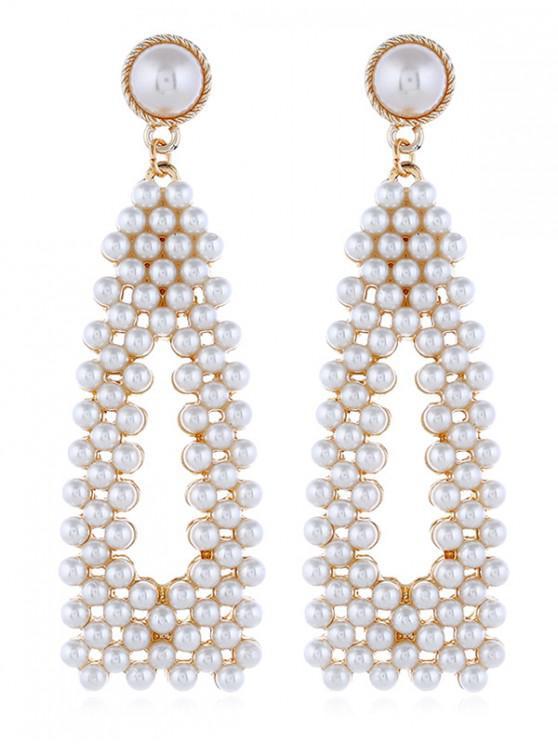 retro weit verbreitet neuer Stil & Luxus Imitatperlen-Tropfen-Ohrringe WHITE