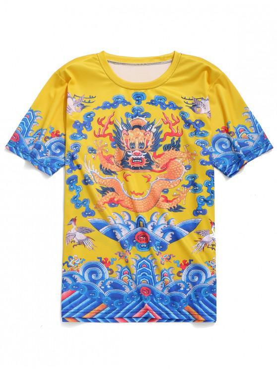 Short Sleeves Chinese Dragon Robe Print T-shirt