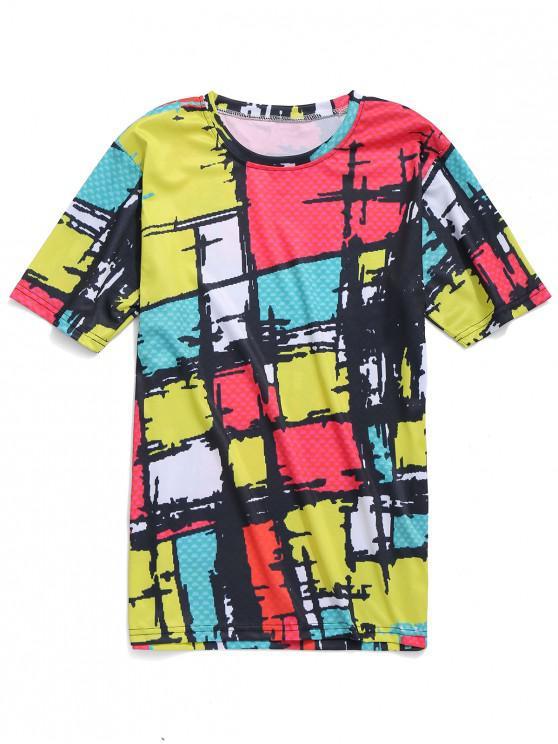 T-shirt casual de impressão xadrez colorido - Multi L