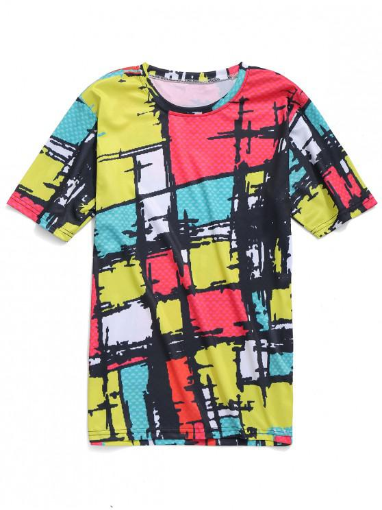 Camiseta casual con estampado de cuadros coloridos - Multicolor XL