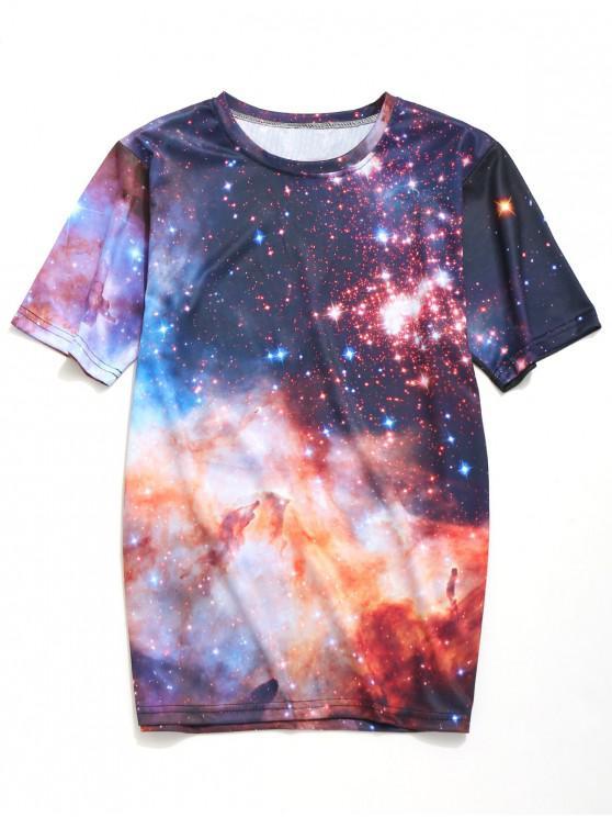 Camiseta Galaxy Print Casual - Multicolor 2XL