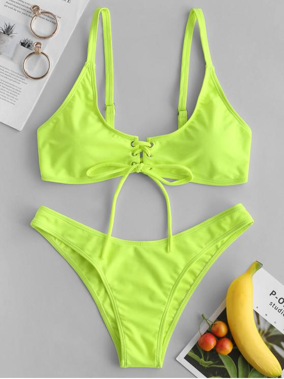 affordable ZAFUL Lace-up Bikini Set - GREEN YELLOW L
