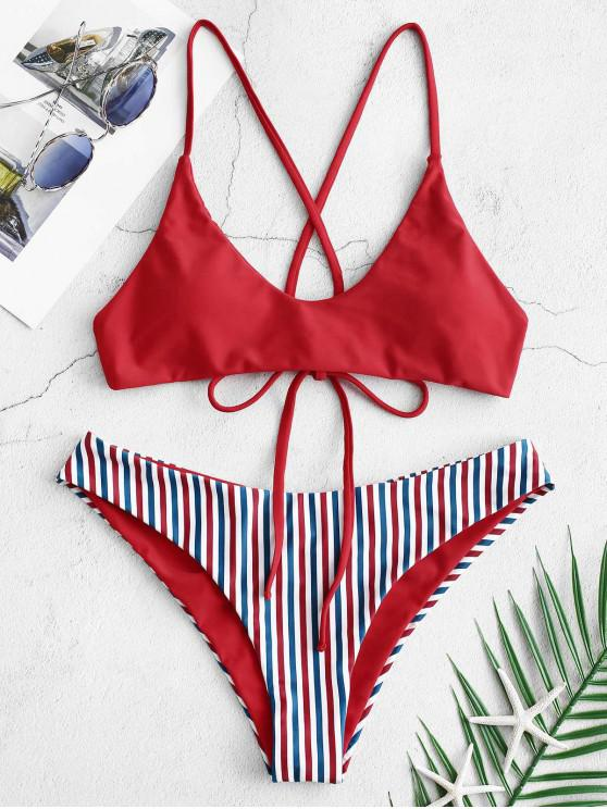 women's ZAFUL Crisscross Scrunch Butt Reversible Bikini Set - LAVA RED M