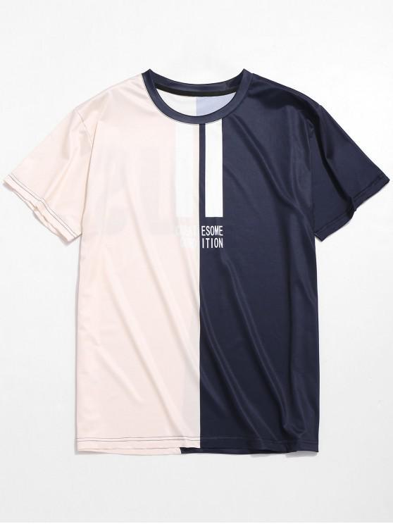 T-shirt Décontracté Bicolore Lettre Imprimée - Multi XL