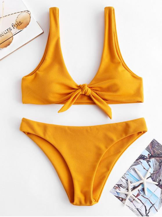 trendy ZAFUL Knot Textured Bikini Set - ORANGE GOLD M