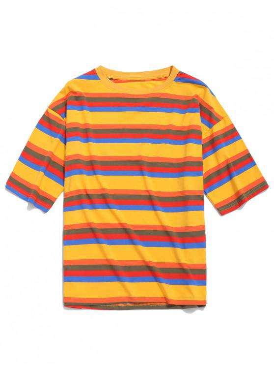 trendy Striped Print Short Sleeves Casual T-shirt - BEE YELLOW XL